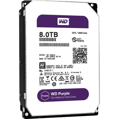 Жесткий диск для видеонаблюдения HDD 8Tb Western Digital Purple WD80PURZ SATA 6Gb/s 64Mb 3,5''