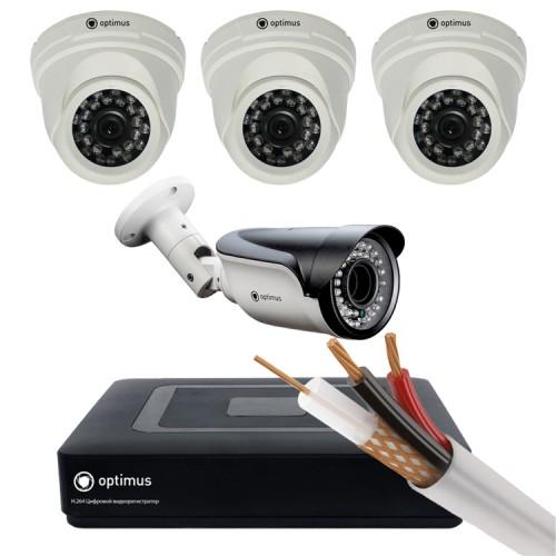 Комплект AHD - 3 камеры внутренние, 1 камера уличная